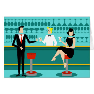 Retro Cocktail Lounge Greeting Card