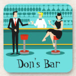 """Retro Cocktail Lounge Hard Plastic Coasters<br><div class=""""desc"""">Every hour is happy hour with these Customizable Retro Cocktail Lounge Hard Plastic Coasters. The mid century modern design features a vibrant, 1960&#39;s style, minimalist, cartoon drawing of a classy, cocktail bar. Against the backdrop of an aqua wall, we can see rows of drink glasses. At least we can see...</div>"""