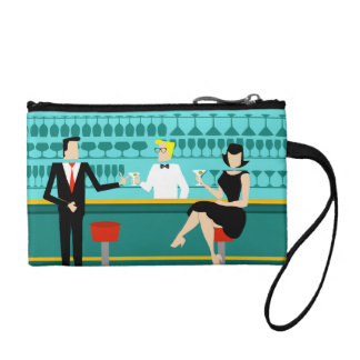 Retro Cocktail Lounge Key Coin Clutch