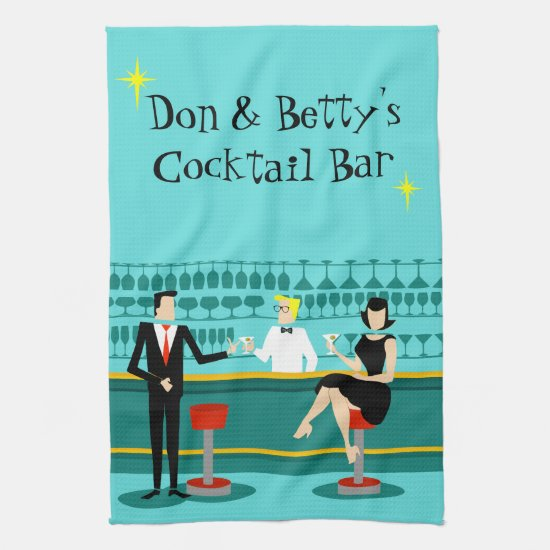 Retro Cocktail Lounge Kitchen Towel