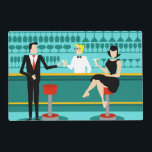 "Retro Cocktail Lounge Laminated Placemat<br><div class=""desc"">Every hour is happy hour with this Customizable Retro Cocktail Lounge Laminated Placemat. The mid century modern design features a vibrant, 1960&#39;s style, minimalist, cartoon drawing of a classy, cocktail bar. Against the backdrop of an aqua wall, we can see rows of drink glasses. At least we can see the...</div>"