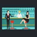 """Retro Cocktail Lounge Laminated Placemat<br><div class=""""desc"""">Every hour is happy hour with this Customizable Retro Cocktail Lounge Laminated Placemat. The mid century modern design features a vibrant, 1960&#39;s style, minimalist, cartoon drawing of a classy, cocktail bar. Against the backdrop of an aqua wall, we can see rows of drink glasses. At least we can see the...</div>"""