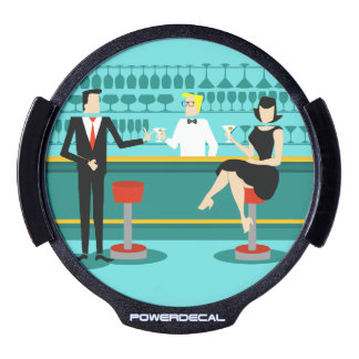 Retro Cocktail Lounge LED Window Decal
