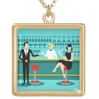 Retro Cocktail Lounge Necklace Square Pendant Necklace