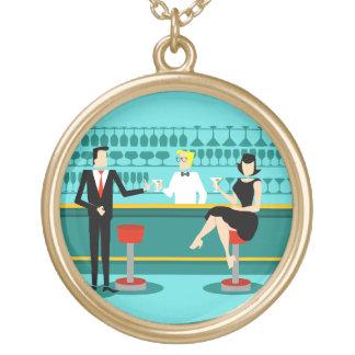 Retro Cocktail Lounge Necklace Round Pendant Necklace