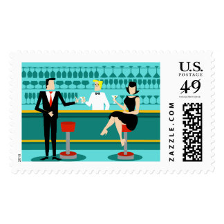 Retro Cocktail Lounge Postage Stamps