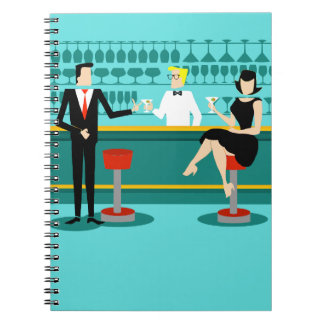Retro Cocktail Lounge Spiral Notebook