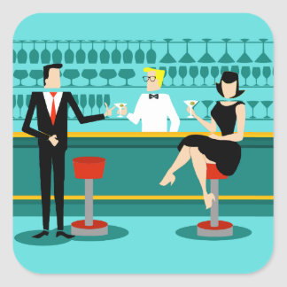 Retro Cocktail Lounge Stickers