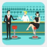 Retro Cocktail Lounge Stickers Square Sticker