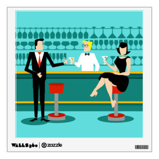 Retro Cocktail Lounge Wall Decal