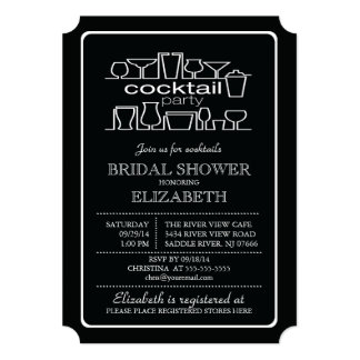 Retro Cocktail Party Bridal shower Card