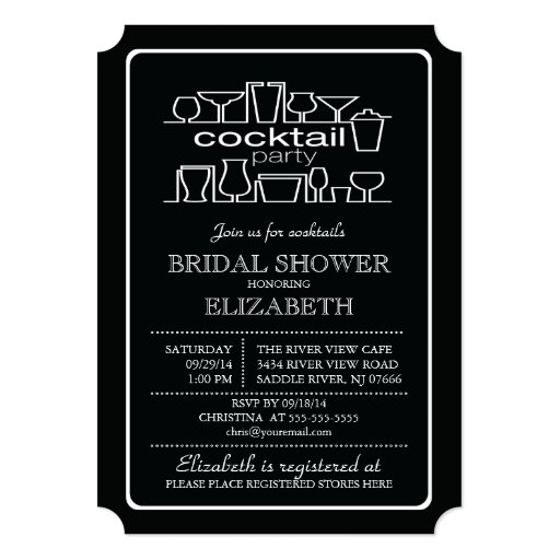 Retro Cocktail Party Bridal shower Invites