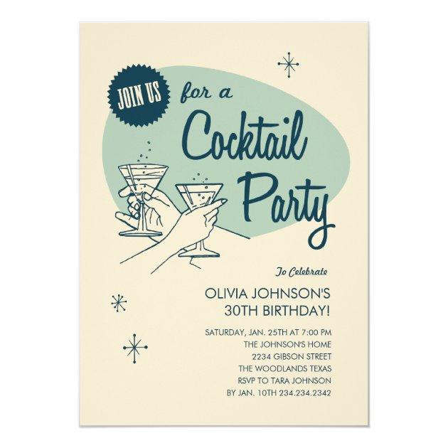 Retro Cocktail Party Invitations | Zazzle.com