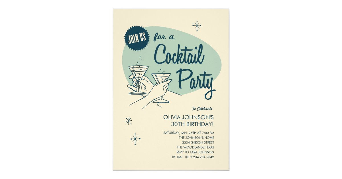 Cocktail Wedding Reception Invitation Wording: Retro Cocktail Party Invitations