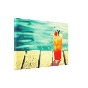 Art Themed Retro cocktail sunset pool bar canvas print