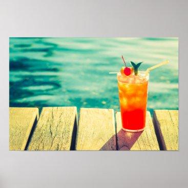 Art Themed Retro cocktail sunset pool bar poster