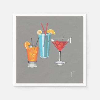 Retro Cocktail Trio Paper Napkin