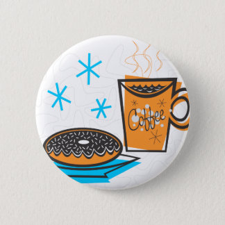 Retro Coffee and Doughnut Pinback Button