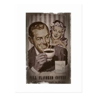 Retro Coffee and Flirting Postcard
