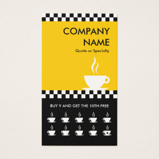retro coffee checkers punchcard business card