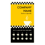 retro coffee checkers punchcard business card template
