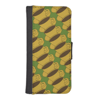 Retro Coffee Cups iPhone 5/5S Wallet Case - Green iPhone 5 Wallet Case