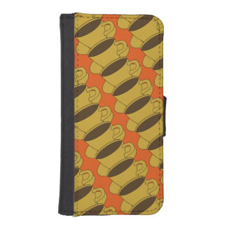 Retro Coffee Cups iPhone 5/5S Wallet Case - Orange Phone Wallets