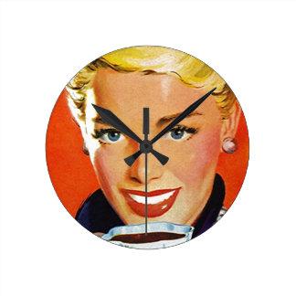 Retro Coffee Klatsch Lady Clock Vintage Stylish