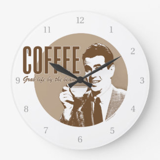 Retro Coffee Large Clock