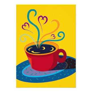 Retro Coffee Tea Klatsch Klatch Party Blank 5x7 Announcements