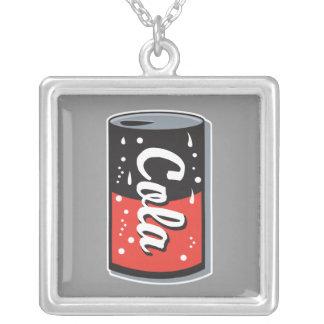 retro cola can design square pendant necklace