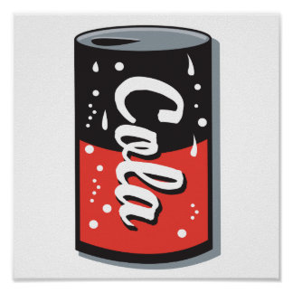 retro cola can design poster