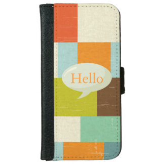Retro Color Blocks Personalized Speech Bubble Wallet Phone Case For iPhone 6/6s