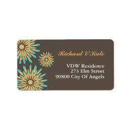 Retro Color Floral Pattern Address Label