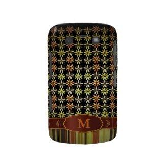Retro Color Flower Stripe Monogram Blackberry Case