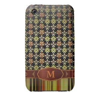 Retro Color Flower Stripe Monogram iPhone 3 iPhone 3 Case-Mate Case