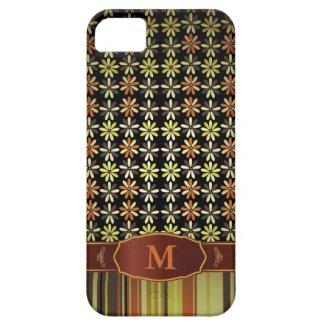 Retro Color Flower Stripe Monogram iPhone 5 iPhone 5 Cases