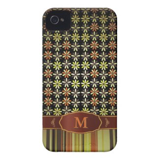 Retro Color Flower Stripe Monogram iPhone $ iPhone 4 Cover