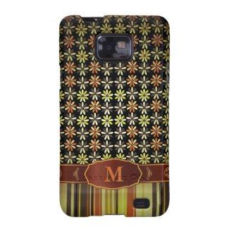 Retro Color Flower Stripe Monogram Samsung S2 Case Galaxy SII Covers