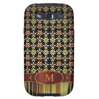 Retro Color Flower Stripe Monogram Samsung S3 Case Galaxy SIII Cases