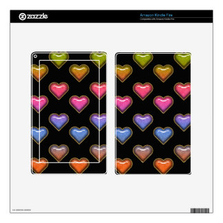 Retro Color Hearts Skins For Kindle Fire