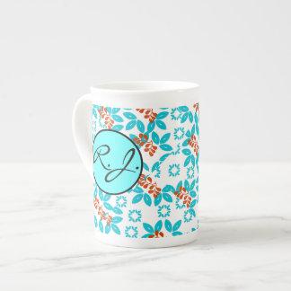 Retro Color Leaf Pattern Monogrammed Tea Cup
