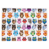 Retro Color Owl Pattern Large Gift Bag