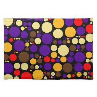 Retro Color Polka Dots   Abstract Art 2 Cloth Place Mat
