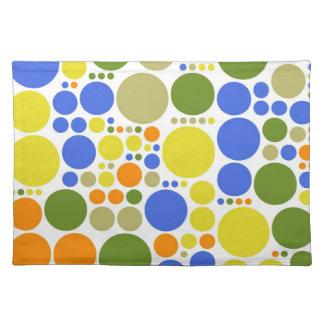 Retro Color Polka Dots   Abstract Art Cloth Placemat