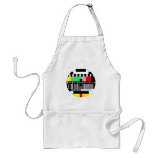 Retro color tv test screen adult apron