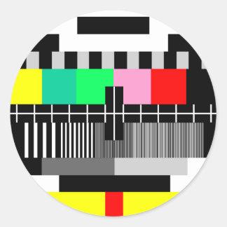 Retro color tv test screen classic round sticker