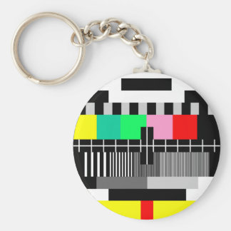Retro color tv test screen keychain