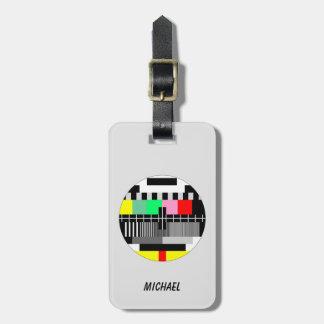 Retro color tv test screen luggage tag