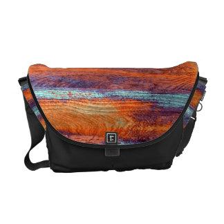 Retro Color Wood Grain Texture Courier Bag